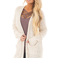 Cream Long Sleeve Open Cardigan with Front Pockets