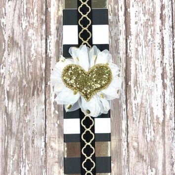Gold Quatrefoil Planner Band with Puffy Gold Glitter Heart on White & Gold Flower