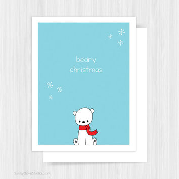 Cute Polar Bear Christmas Card For Friend Her Him Pun Fun Merry Beary Christmas Handmade Greeting Cards Illustration Gifts Gift Ideas