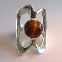 Tiger Eye Modernist Sterling Silver Ring, Taxco Mexico, Large Artisan, Vintage sz 7.5