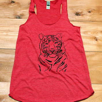 i'm totally serious Tiger Tank Top, Tiger Shirt, Yoga Tank, Workout Tank, Red Tank Top, S,M,L,XL