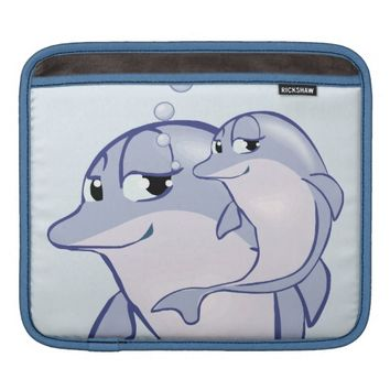 Cute Blue Dolphins Personalized iPad Sleeve