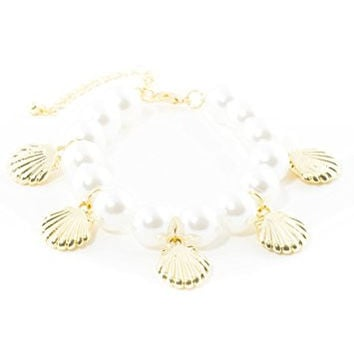 Sea Shell Charms Faux Pearl Beaded Bracelet BC48 Fashion Jewelry