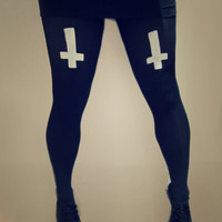 cross leggings ANY SIZE hipster grunge tumblr goth pastel upside down cross