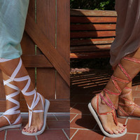 White Gladiator Sandals with Two pair of Interchangeable Laces. Sorbet and White