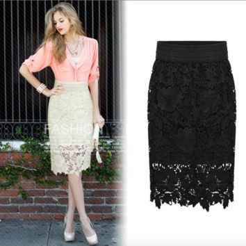 High Quality 2016 New Women Lace Skirt A-Line Hollow Out White Black SKirt Knee Length Plus SIze S-3XL Free Shipping