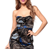 Strapless Leopard and Gold Chain Print Cocktail Dress