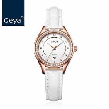 Geya Style Wristband Watch Leather Quartz Water Resistant Sapphire Crystal Glasses Watch