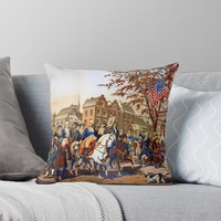'Washington's Grand Entry (New York, Nov. 25th, 1783)' Throw Pillow by planetterra