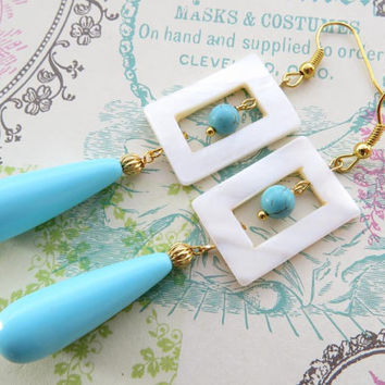 Turquoise drop earrings, carved mother of pearl ivory earrings, gemstone jewels, italian jewellery, Sofia's Bijoux