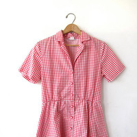 Vintage Checkered Dress. Red White Picnic Dress. Pockets. Short Sleeve Shirt Dress. Button Front Dress. Basic House Day Dress.