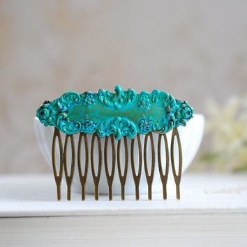 Teal Blue Verdigris Patina Hair Comb. Vintage Style, Shabby Chic, Rustic Metal Comb, Blue Green, Woodland Hair Accessory