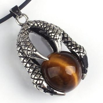 100-Unique 1 Pcs Vintage Silver Plated Dragon Claw Natural Tiger Eye Stone Round Bead Pendant Fashion Jewelry