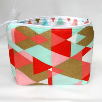 Cosmetic Bag, Make up Bag, Makeup Bag, Toiletry Bag, Zipper Pouch, Handmade Zippered Pouch, geometric fabric bag