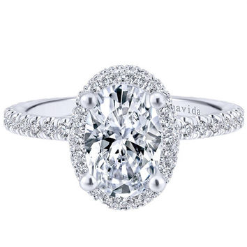 "Gabriel Amavida ""Mary"" Oval Double Halo Diamond Engagement Ring"