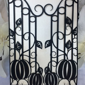 pumpkins and iron gate wedding invitation gatefold diy autumn fall halloween party