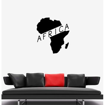 Wall Decal Mainland Continent Africa Island Map Inscription Vinyl Sticker (ed1280)