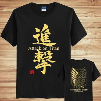 Attack on Titan Cosplay T-shirt Anime cosplay T-Shirt Summer Student Tees
