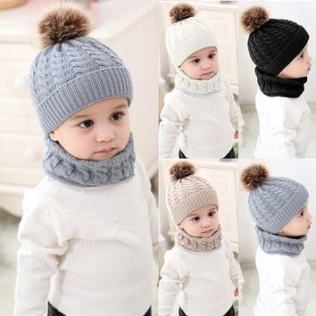 2Pcs/Set Newborn Baby Knitted Hat Scarf With Pompom Warm Caps Scarves Infant Boys Girls Autumn Winter Warm Crochet Beanie Set