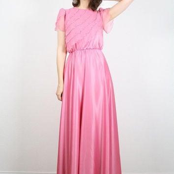 Vintage Pink Dress Hippie Dress Maxi Dress Rose Petal Bubblegum Pink 70s Dress Disco Dress Angel Sleeve Flutter Ruffle XS S Extra Small