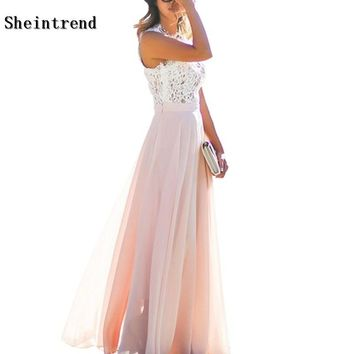 Sheintrend XXXL Robe 2018 New Lace Women Dress Fashion Street Patchwork Floor-Length Robe Chiffon Sleeveless Summer Maxi Dresses