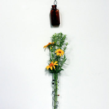 wired vessel  /  hanging bud vase  /  test tube
