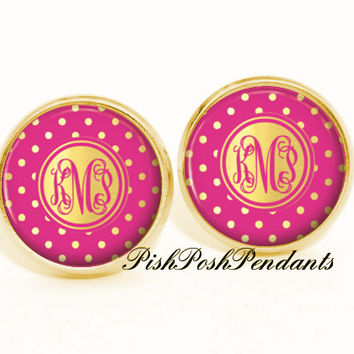 Fuchsia Pink Monogram Earrings -  Stud Earrings - Personalized Earrings - Bridesmaid Gift - Style 549