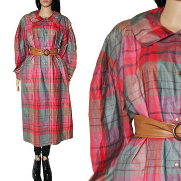 60s Cojana London Raincoat Pink Red Plaid long Maxi Mod Winter Outewear 90s Club Kid Preppy Hipster Clothing Womens Size XL XXL