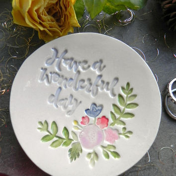 Flower Ring Dish Good Day Ceramic Plate Leaf Ceramic Jewelry Dish  Trinket dish Colorful Flower Plate Jewelry Holder