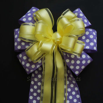 White Purple Yellow Wedding Pew Bow Orchid Yellow Wedding Church Aisle Bow Polka Dots Birthday shower Shower Bow Decor Gifts Bow