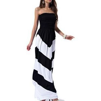 [13178] Women Sleeveless Summer Chevron Maxi Dress