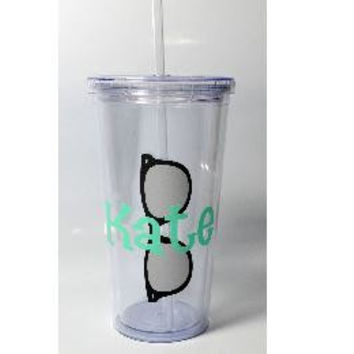 Personalized Summer Tumbler 20oz Sunglasses Design