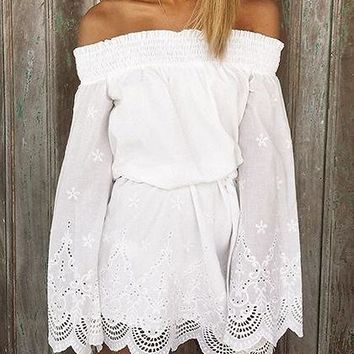White Stretch Off Shoulder Flared Sleeve Scalloped Hem Mini Dress