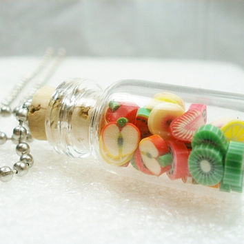 Bottled Fruits Pendant.  Polymer clay
