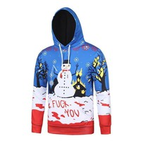 Christmas autumn and winter Christmas Snowman printing 3D hooded couple sweater