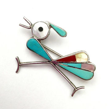 Road Runner Brooch  Silver Turquoise Coral Mother of pearl Onyx Inlay   Southwestern  Old Pawn   Native American  Navajo  - Bird  pin