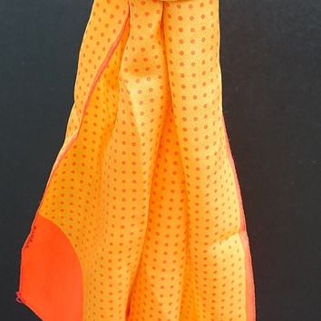 Vintage Silk Scarf |  Sheer Scarf  | Long Skinny Scarf | Ladies Accessory | Neck Scarf  | Orange Scarf | Retro Scarf
