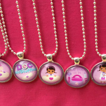 Doc Mcstuffins Party Favors, Doc Necklaces, Doc McStuffins Jewelry, Doc Mc Stuffins Birthday, Birthday Party Favors, Girls Party Favors