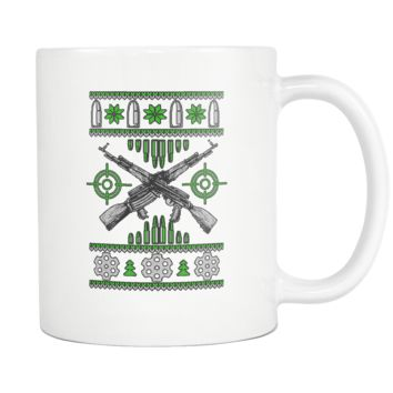 Guns & Ammo 2nd Amendment Ugly Christmas Sweater White 11oz Coffee Mug