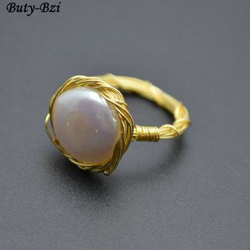 Natural Fresh Water Pearl Flat Round Coin Beads Handmade Gold Color Copper Wire Wrapped Rings Fashion Woman Jewelry