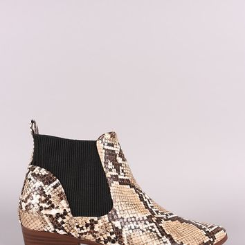 Qupid Python Print Pointy Toe Chelsea Ankle Boots