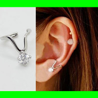 Yes Diamond Ear Cuff (Silver,Single, No Piercing)