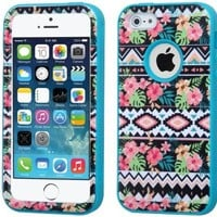 For Iphone 5S 5- Hybrid Triple Layer High Impact Tuff Verge Shield Heavy Duty Hard Cover Fitted Soft TPU Skin Case Protector + Clear LCD Screen Protector Shield Guard + Touch Screen Stylus Pen (Hawaiian Tribal / Teal Verge)