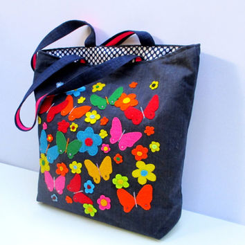 Colorful butterflies, denim tote handbag, handmade, unique,artistic colorful funky shopper/everyday/carry all/stylish/ecofriendly
