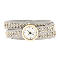 Grey Mini Studded Wrap Watch