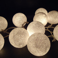 20 White cotton ball lights fairy string lantern lamps christmas party wedding decoration home decor #2