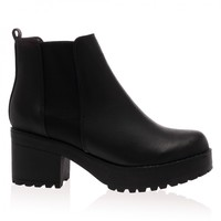 Eden Black PU Chunky Ankle Boots