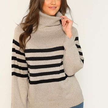 Rolled Turtleneck Striped Knit Pullover Sweater