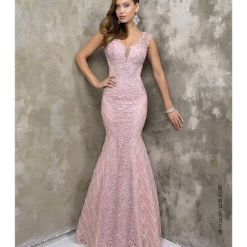 Preorder - Nina Canacci 9073 Blush Pink Mermaid Lace Long Gown 2016 Prom Dresses