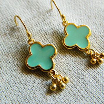 Minty Green Clover Earrings, Clovers, Clover Charms, Clover Designs